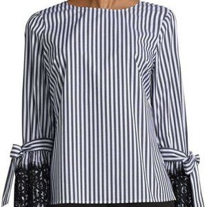 Worthington Womens Striped Bell Sleeve with Lace